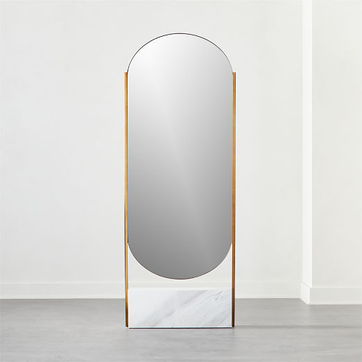 White Marble Base Free Standing Mirror