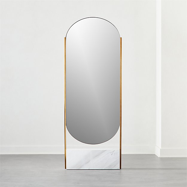 White Marble Base Free Standing Mirror - Image 1 of 6
