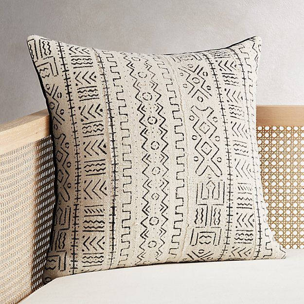 """20"""" White Mudcloth Pillow - Image 1 of 6"""