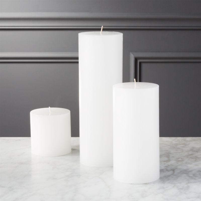 White Pillar Candles Cb2