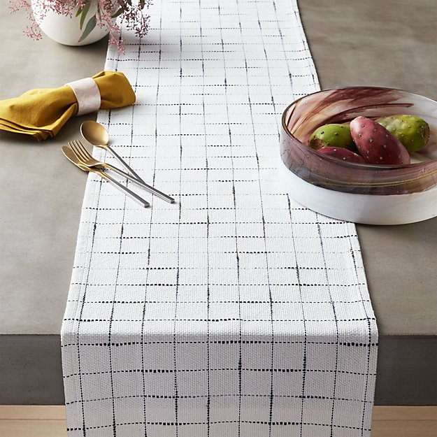 Woven Black and White Grid Runner - Image 1 of 3