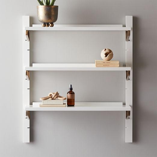 "White High-Gloss Single Modular Wall Shelf 39.5"""