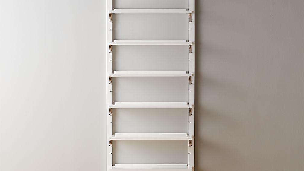 "White High-Gloss Single Modular Wall Shelf 88"" - Image 1 of 4"