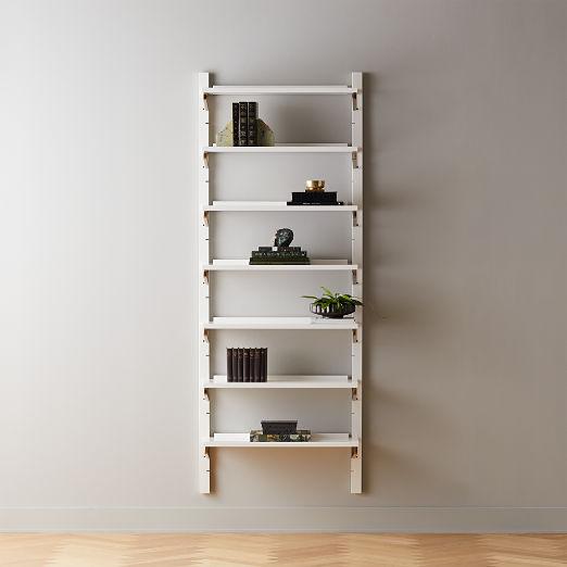"White High-Gloss Single Modular Wall Shelf 88"""
