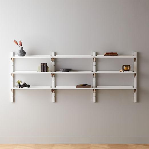 "White High-Gloss Triple Modular Wall Shelf 39.5"""