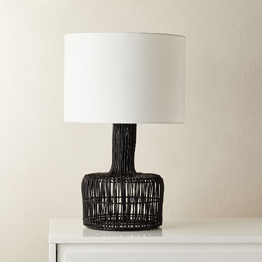 Wicker Black Table Lamp