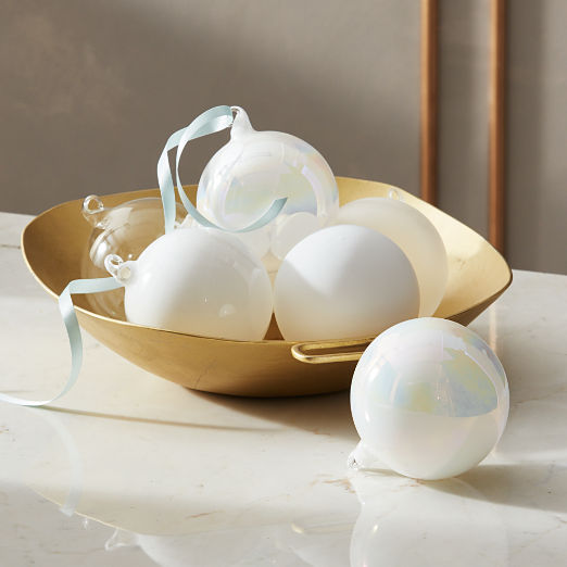 Winter White Luster Ornaments Set of 6