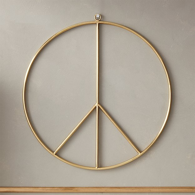 Brushed Brass Wire Peace Wreath - Image 1 of 9