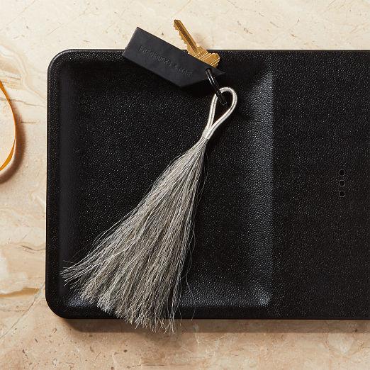 Wire Tassel Grey Horsehair Keychain