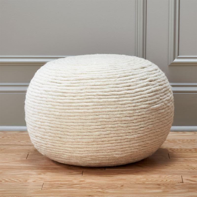 Wool White Pouf Reviews Cb2