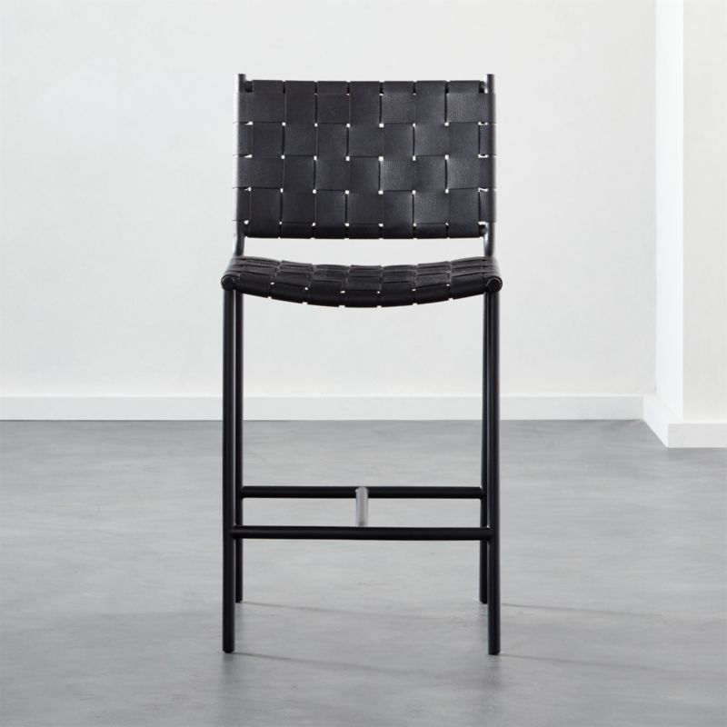 Woven Black Leather Counter Stool 24