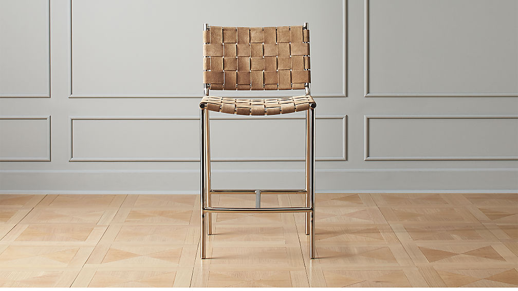 7f3c2397640f Woven Brown Suede Counter Stool 24