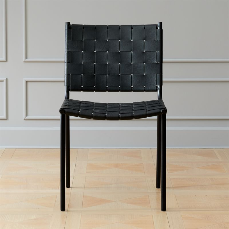 Woven Black Leather Dining Chair