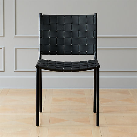 Woven Black Leather Dining Chair Reviews Cb2