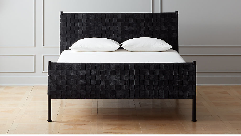 Woven Black Suede Queen Bed + Reviews | CB2