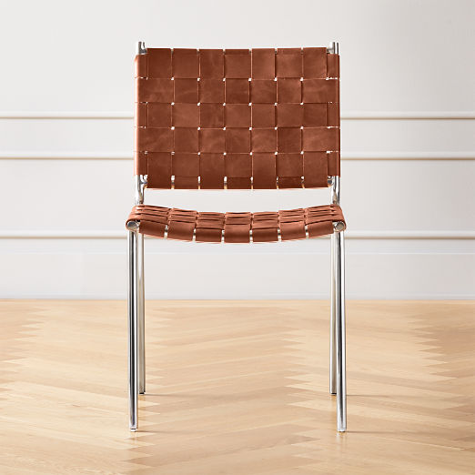 Woven Brown Leather Chair