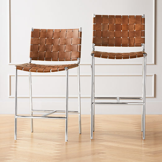 Woven Brown Leather Bar Stools