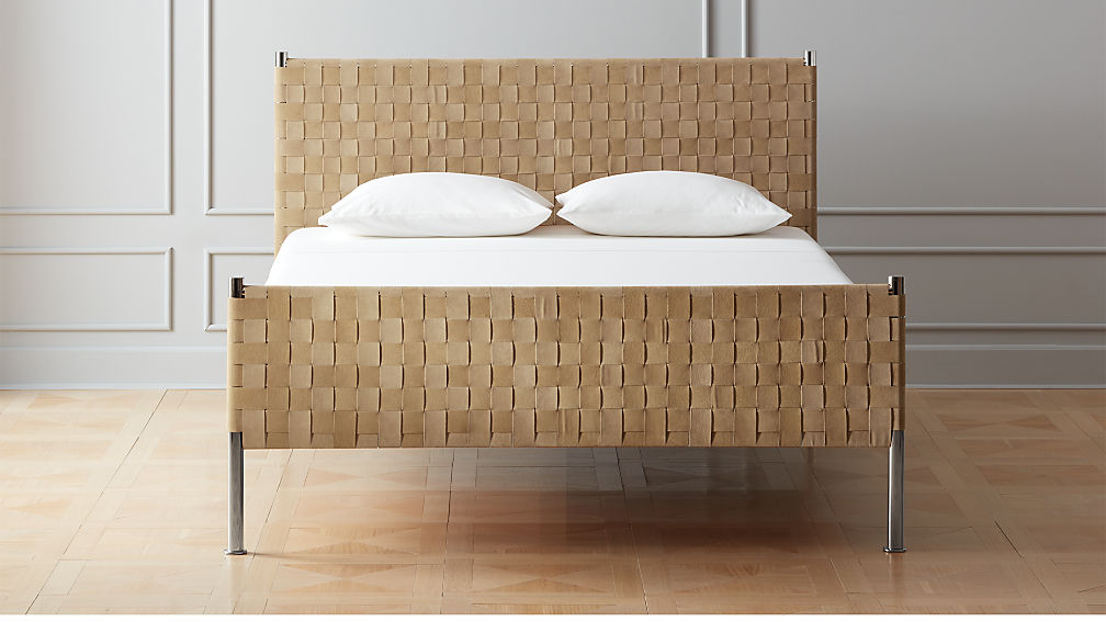 Woven Brown Suede Queen Bed + Reviews | CB2