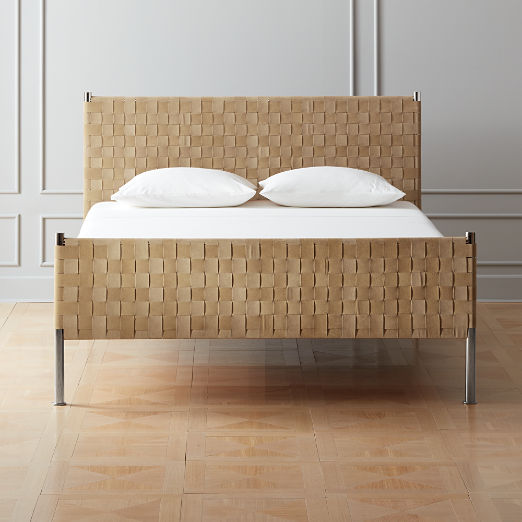 Woven Brown Suede Bed