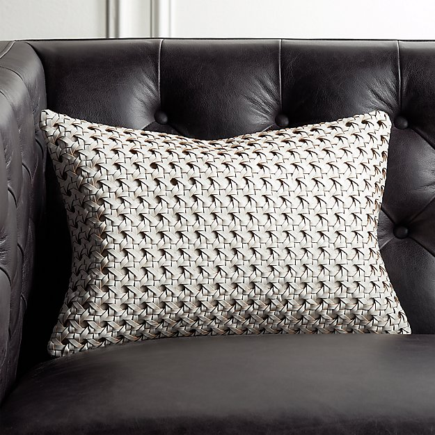 """18""""x12"""" White Woven Leather Pillow - Image 1 of 8"""