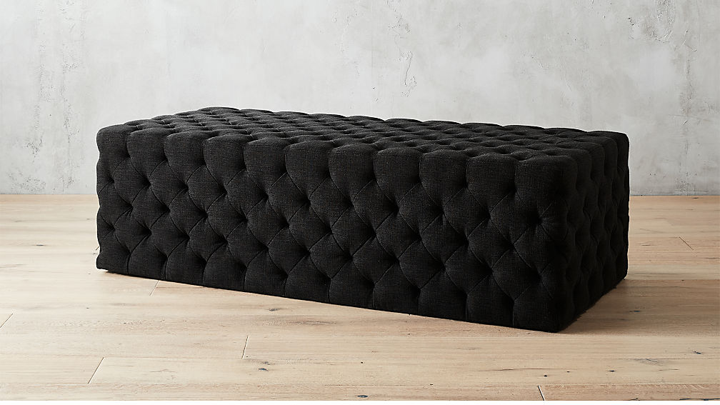 Extra Large Rectangular Black Tufted Ottoman Reviews Cb2