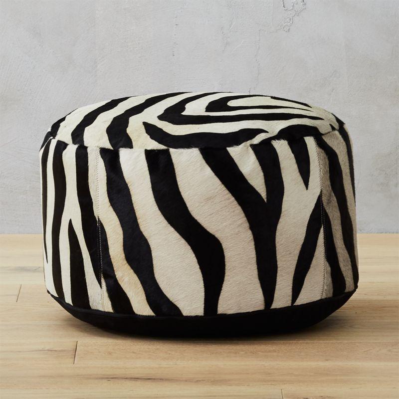 Zebra Print Pouf