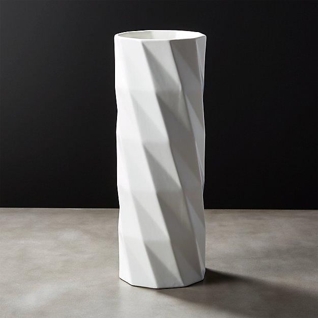 Zig Tall White Vase Reviews Cb2