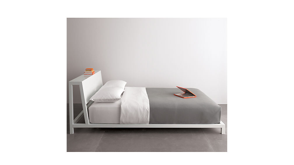 Bedroom side view King Size Bed Cb2 Alpine White Full Bed Reviews Cb2