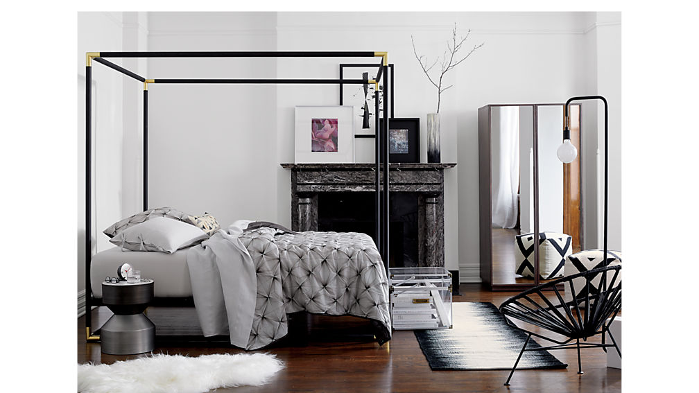 frame black king canopy bed + Reviews | CB2