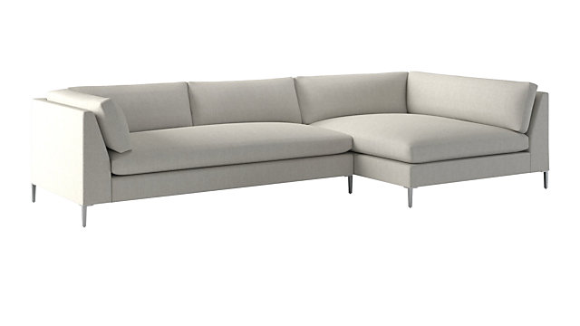 Decker 2-Piece Snow Sectional Sofa (Left Arm Sofa, Right Arm Chaise). shown in Nomad, Snow
