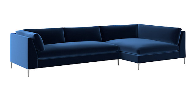 Awesome Decker 2 Piece Blue Velvet Sectional Sofa Onthecornerstone Fun Painted Chair Ideas Images Onthecornerstoneorg
