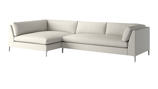 Decker 2-Piece Snow Sectional Sofa (Left Arm Chaise, Right Arm Sofa). shown in Nomad, Snow