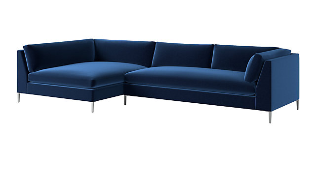 Pleasant Decker 2 Piece Blue Velvet Sectional Sofa Pabps2019 Chair Design Images Pabps2019Com