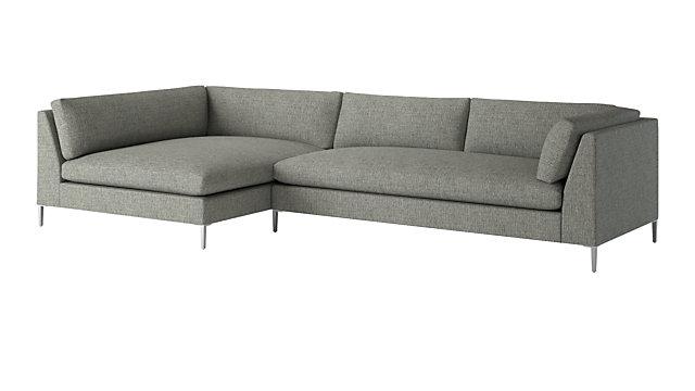 Decker 2 Piece Large Grey Sectional Sofa Reviews Cb2