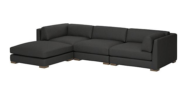 Piazza Dark Grey 4-Piece Modular Sectional Sofa. shown in Dark Grey, Madrid