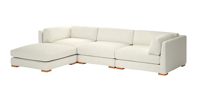 Piazza Snow 4-Piece Modular Sectional Sofa. shown in Lindy, Snow
