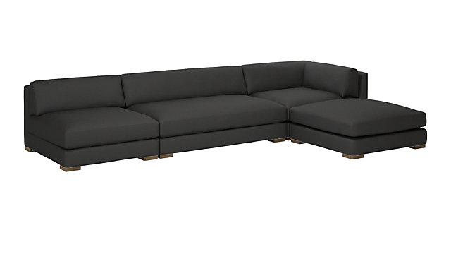 Piazza Dark Grey 4-Piece Modular Single Apartment Sofa Sectional. shown in Dark Grey, Madrid