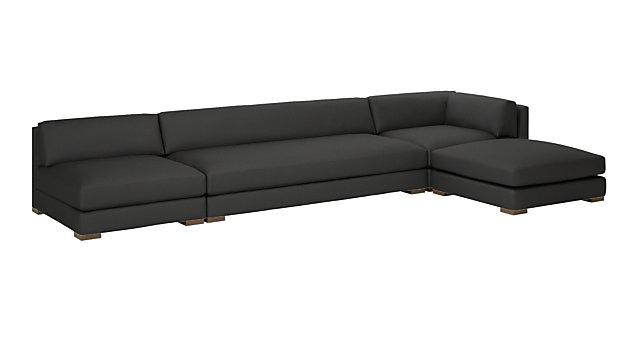 Piazza Dark Grey 4-Piece Modular Full Sofa Sectional. shown in Dark Grey, Madrid