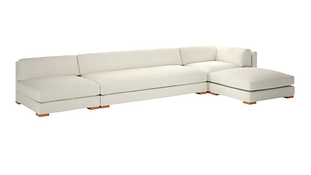 Piazza Snow 4-Piece Modular Full Sofa Sectional. shown in Lindy, Snow