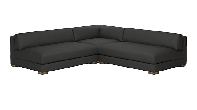 Piazza Dark Grey 3-Piece Modular Double Apartment Sofa Sectional. shown in Dark Grey, Madrid
