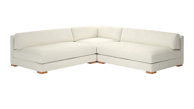 Piazza Snow 3-Piece Modular Double Apartment Sofa Sectional. shown in Lindy, Snow