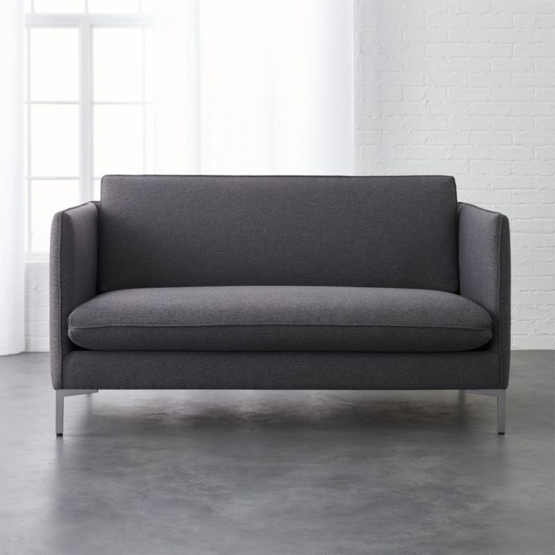 Elegant Flatiron Grey Apartment Size Sofa + Reviews | CB2
