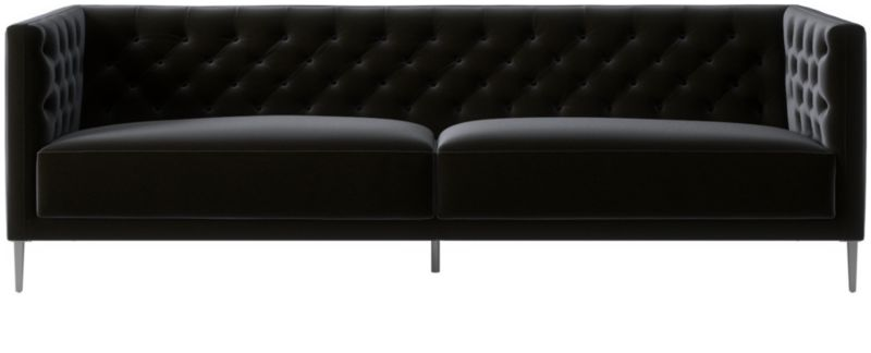 savile charcoal tufted sofa reviews cb2 rh cb2 com tufted charcoal velvet sofa charcoal tufted sectional sofa