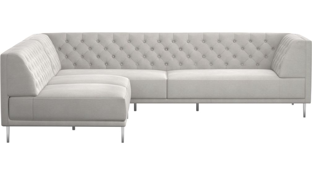 Savile Dale Grey Tufted Sectional Sofa + Reviews | CB2