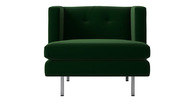 Avec Emerald Green Chair with Brushed Stainless Steel Legs. shown in Como, Emerald