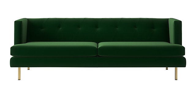 the latest eaaf7 b5db0 Avec Emerald Green Sofa with Brass Legs