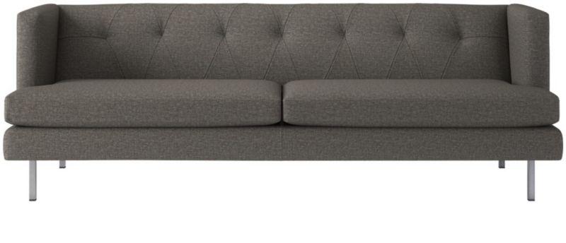avec tufted grey sofa reviews cb2 rh cb2 com cb2 avec apartment sofa