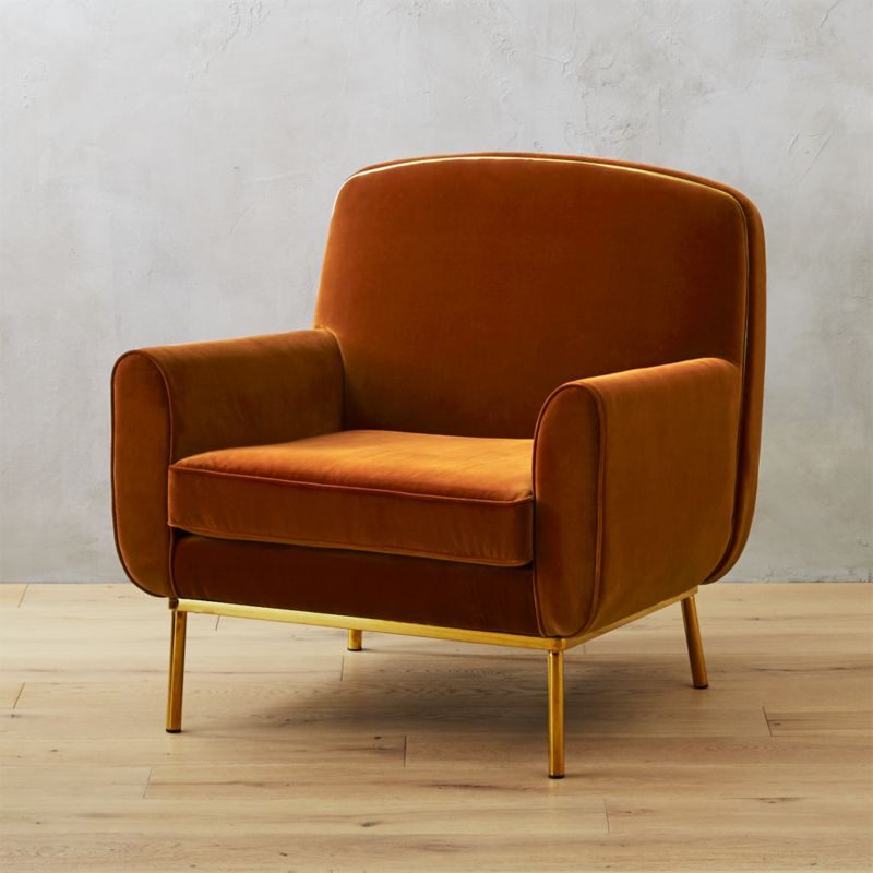 Halo Orange Velvet Armchair Reviews Cb2