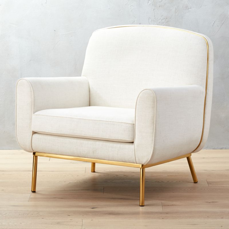 Superieur Halo White And Brass Armchair + Reviews | CB2