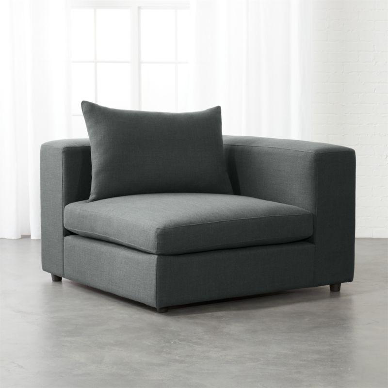 Arlo Iron Grey Wide Arm Corner Chair Cb2